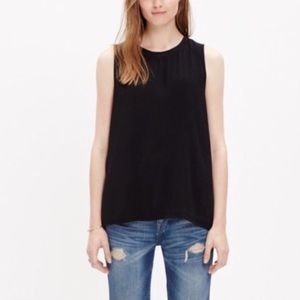 Madewell Refined Black Zip Back High Low Tank Top